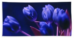 Dark Blue Tulips Beach Towel
