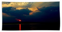 Beach Towel featuring the photograph Cloudy Sunset by James C Thomas