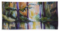 Beach Towel featuring the painting Dark Woods by Nadine Dennis