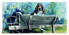 Beach Towel featuring the painting Darn Dog Days by Hanne Lore Koehler