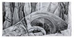 Beach Towel featuring the drawing Das Monster Hat Sich Im Ungebuegelten Hintergrund Versteckt by Otto Rapp