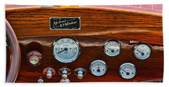 Dashboard In A Classic Wooden Boat Beach Towel