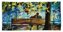 Date On The Bench Beach Towel