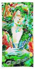 David Bowie Watercolor Portrait.2 Beach Sheet