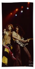 David Lee Roth And Eddie Van Halen - Van Halen- Oakland Coliseum 12-2-78   Beach Towel by Daniel Larsen
