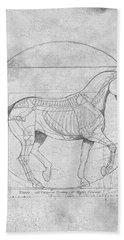 Da Vinci Horse Piaffe Grayscale Beach Towel