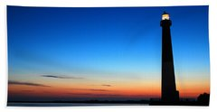 Beach Towel featuring the photograph Dawn At Barnegat Light by James Kirkikis