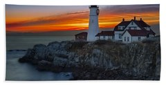 Dawn At Portalnd Head Light Beach Towel