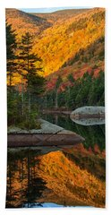 Beach Towel featuring the photograph Dawns Foliage Reflection by Jeff Folger
