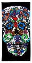 Day Of The Dead Skull Beach Towel by Genevieve Esson