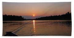 Beach Sheet featuring the photograph Sunset Fishing by Debbie Oppermann
