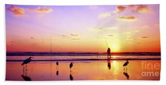 Daytona Beach Fl Surf Fishing And Birds Beach Towel