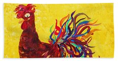 Beach Towel featuring the painting De Colores Rooster by Eloise Schneider