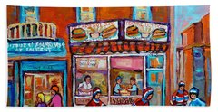 Decarie Hot Dog Restaurant Ville St. Laurent Montreal  Beach Towel