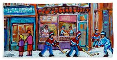 Decarie Hot Dog Restaurant Ville St. Laurent Montreal  Beach Sheet by Carole Spandau
