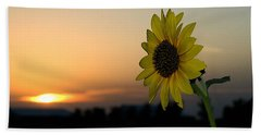 Beach Towel featuring the photograph Sunflower And Sunset by Mae Wertz