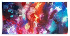Deep Water Coral Beach Towel by Sally Trace