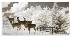 Deer Nature Winter - Surreal Nature Deer Winter Snow Landscape Beach Towel by Kathy Fornal