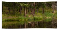 Deer In The Mist Beach Towel
