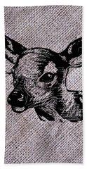 Deer On Burlap Beach Towel