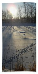 Deer Tracks On The River Beach Towel by Kent Lorentzen