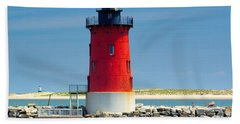 Delaware Breakwater Lighthouse Beach Towel by Nick Zelinsky