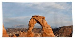 Beach Towel featuring the photograph Delicate Arch At Sunset by Jeff Goulden