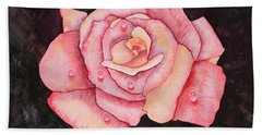 Delicate Pink Rose With Water Droplets Original Watercolor Painting Beach Towel