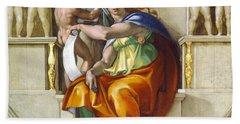 Beach Towel featuring the painting Delphic Sybil by Michelangelo di Lodovico Buonarroti Simoni