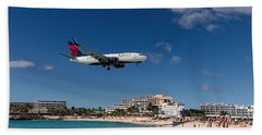 Delta 737 St. Maarten Landing Beach Towel by David Gleeson