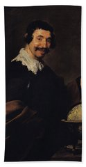 Democritus, Or The Man With A Globe Oil On Canvas Beach Towel