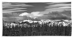 Denali In Clouds Beach Towel