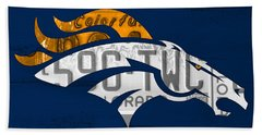 Denver Broncos Football Team Retro Logo Colorado License Plate Art Beach Towel