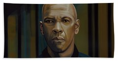 Denzel Washington In The Equalizer Painting Beach Towel