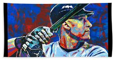 Derek Jeter Beach Towel by Maria Arango
