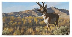 Beach Towel featuring the painting Desert Buck by Rob Corsetti