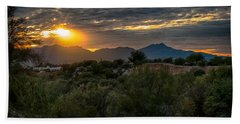 Beach Towel featuring the photograph Desert Sunset by Dan McManus