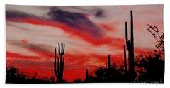 Desert Sunset Northern Lights Version 3 Beach Towel by Joseph Baril