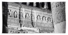 Details Of Carvings In Ajanta Caves Beach Towel