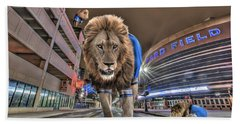 Detroit Lions At Ford Field Beach Towel by Nicholas  Grunas