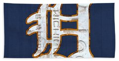 Detroit Tigers Baseball Old English D Logo License Plate Art Beach Towel