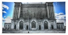 Detroit's Abandoned Michigan Central Train Station Depot Beach Sheet