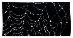 Beach Towel featuring the photograph Dew Drops On Web 2 by Marty Saccone