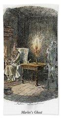 Dickens Christmas Carol, 1843 Beach Towel