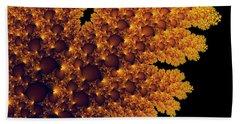 Digital Warm Golden Fractal Leaf Black Background Beach Sheet