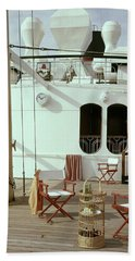 Directors Chairs In Front Of The Ship The Queen Beach Towel