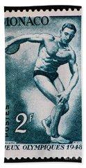 Discus Vintage Postage Stamp Print Beach Sheet by Andy Prendy