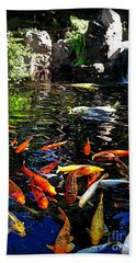 Disney Epcot Japanese Koi Pond Beach Sheet by Joan  Minchak