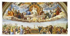 Beach Towel featuring the painting Disputation Of Holy Sacrament. by Raphael