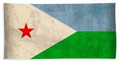 Djibouti Flag Vintage Distressed Finish Beach Towel